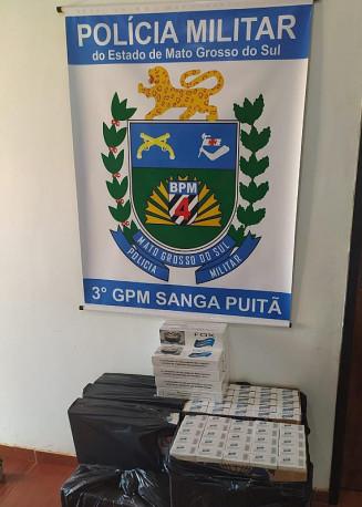 PM faz apreensão de cigarro contrabandeado. Imagem: (Divulgação)