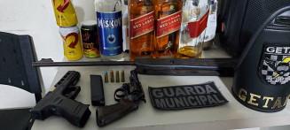 Materiais apreendidos durante aglomeração em festa clandestina. Imagem: (Assessoria)