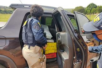 Os policiais rodoviários federais fiscalizavam na BR-158. Imagem: (Assessoria)