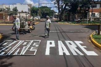 Cruzamento da Mato Grosso do João Vicente Ferreira recebeu nova sinalização (Divulgação)