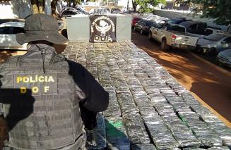 Caminhão com maconha foi trazido para a sede do DOF (Imagem: Divulgação)
